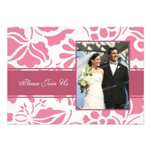 Pink & White Photo Wedding Vow Renewal Invitations
