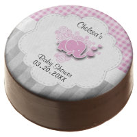 Pink & White Plaid and Gray Stripe Baby Shower Chocolate Dipped Oreo