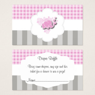 Pink & White Plaid and Gray Stripes Diaper Raffle Business Card