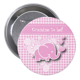 Pink & White Plaid Baby Elephant 3 Inch Round Button