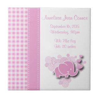Pink & White Plaid Baby Elephant Birth Information Tile