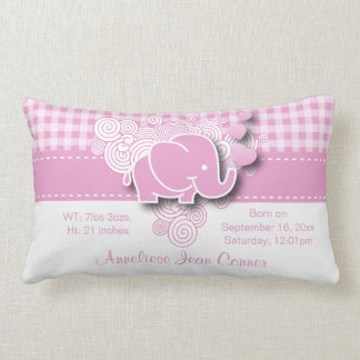 Pink & White Plaid Baby Elephant Birth Throw Pillow