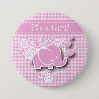 Pink & White Plaid Baby Elephant Button