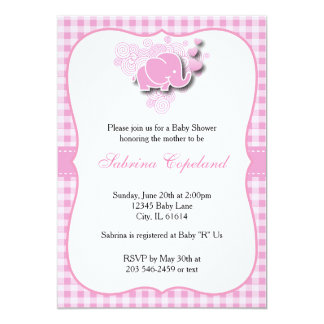 Pink & White Plaid Baby Elephant for a Baby Shower Card