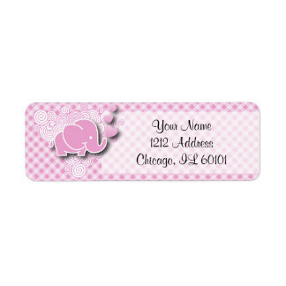 Pink & White Plaid Baby Elephant Label
