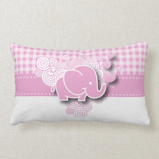 Pink & White Plaid Baby Elephant Pillow