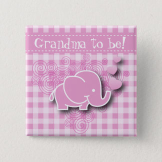 Pink & White Plaid Baby Elephant Pinback Button