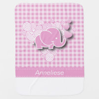 Pink & White Plaid Baby Elephant Receiving Blanket