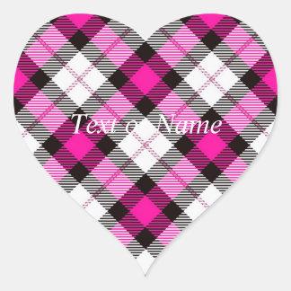pink white plaid heart sticker
