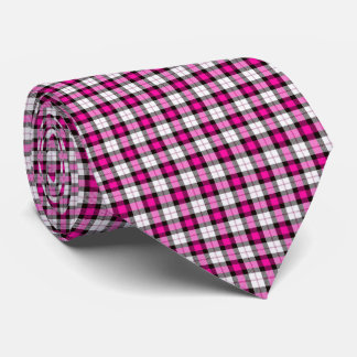 pink white plaid neck tie