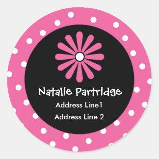 Pink & White Polka Dot Address Labels Classic Round Sticker