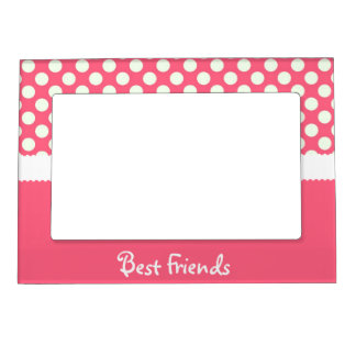 pink white polka dot best friends magnetic photo frame