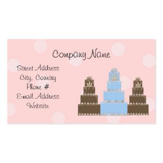 Pink White Polka Dot Designer Cakes Business Card