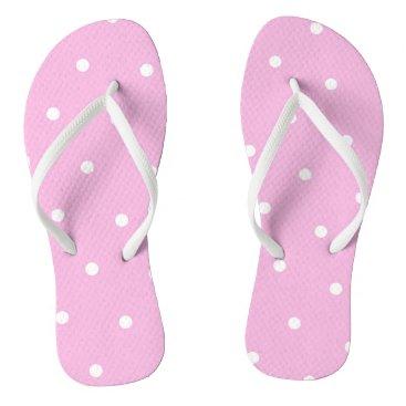 Beach Themed Pink/White Polka Dot Flip Flops