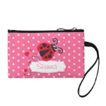 Pink & white polka dot & ladybug named coin clutch coin purses