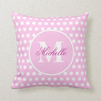 Pink White Polka Dot Monogram Pillow