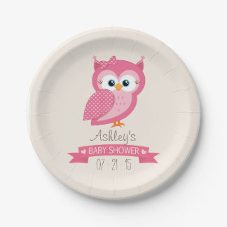 Pink & White Polka Dot Owl Baby Shower 7 Inch Paper Plate