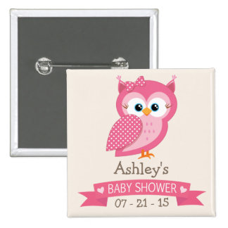 Pink & White Polka Dot Owl Baby Shower Button