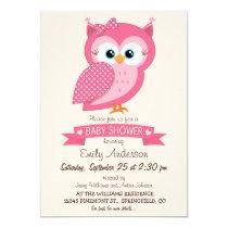 Pink & White Polka Dot Owl Baby Shower Card