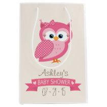 Pink & White Polka Dot Owl Baby Shower Medium Gift Bag