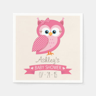 Pink & White Polka Dot Owl Baby Shower Napkin