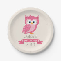 Pink & White Polka Dot Owl Baby Shower Paper Plate