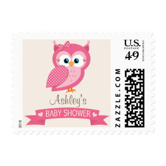 Pink & White Polka Dot Owl Baby Shower Postage Stamp