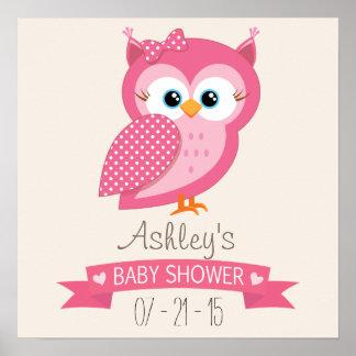 Pink & White Polka Dot Owl Baby Shower Poster