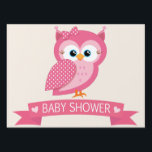 "Pink &amp; White Polka Dot Owl Baby Shower Sign<br><div class=""desc"">Cute,  simple Pink &amp; White Polka Dot Owl  theme baby shower design.  Simple,  retro feel design that can be personalized!  Neutral layout for baby boy or girl baby showers. Visit our store,  Favors and Decor,  for more decorations,  party favors,  and invitations for many occasions!</div>"