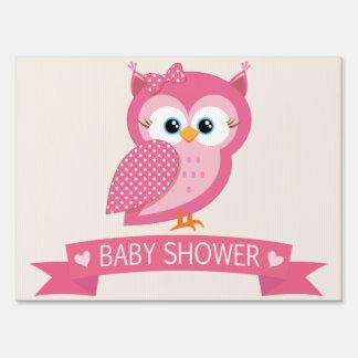 Pink & White Polka Dot Owl Baby Shower Sign