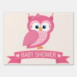 Pink & White Polka Dot Owl Baby Shower Yard Sign