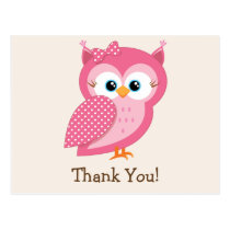 Pink & White Polka Dot Owl Thank You Postcard