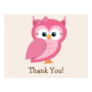 Pink & White Polka Dot Owl Thank You Postcard