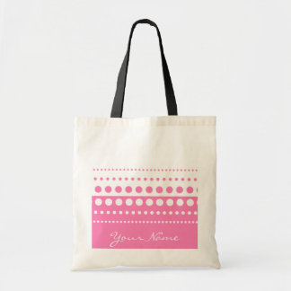 Pink White Polka Dot Pattern Budget Tote Bag