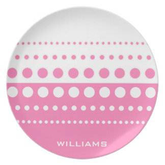 Pink White Polka Dot Pattern Melamine Plate