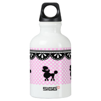 Pink white polka dot poodle pattern aluminum water bottle