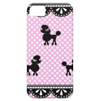 Pink white polka dot poodle pattern iPhone 5 case