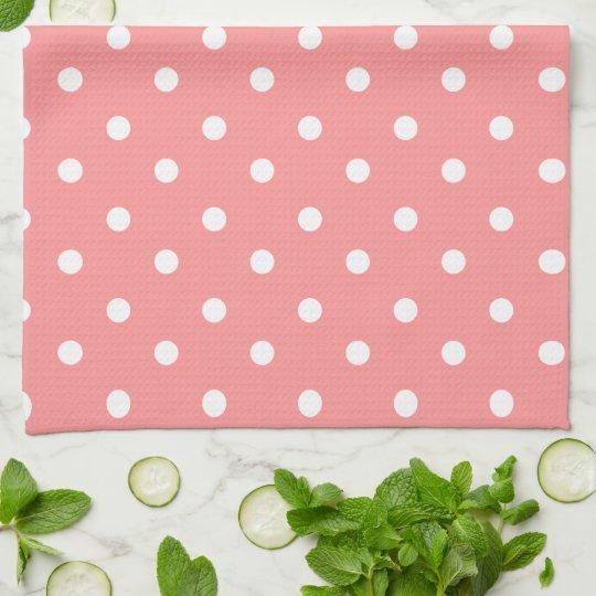 Pink & White Polka Dot Tea Towel
