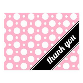 Pink & White Polka Dot Thank You Postcards