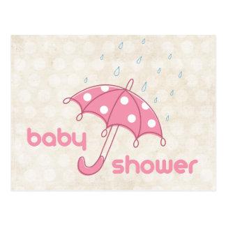 Pink White Polka Dot Umbrella Baby Shower Invite Postcard