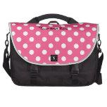 Pink white polka dots laptop commuter bag