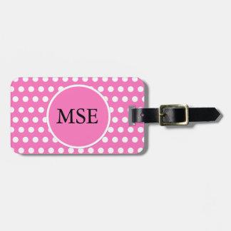 Pink White Polka Dots Travel Bag Tag