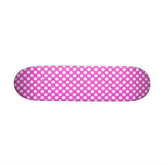 Pink White Polka Dots - Mini Skateboard