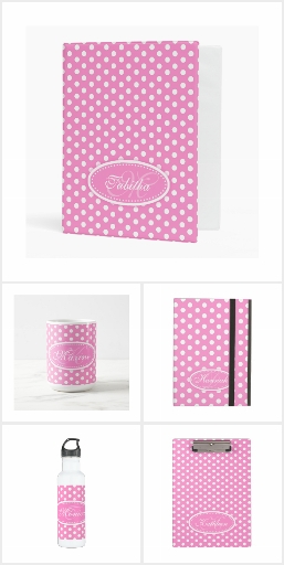 Pink & white polka dots personalized