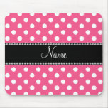 Pink white polka dots personalized name mousepads