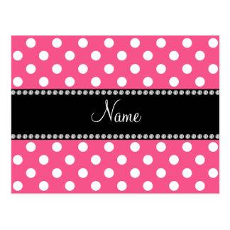 Pink white polka dots personalized name postcard