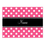 Pink white polka dots personalized name postcards