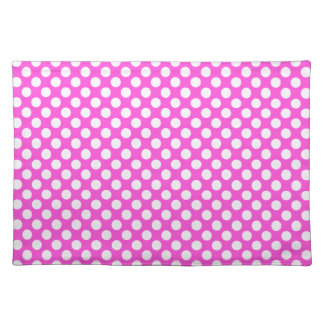 Pink White Polka Dots - Placemat Cloth Place Mat