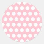 Pink & White Polka Dots Round Sticker