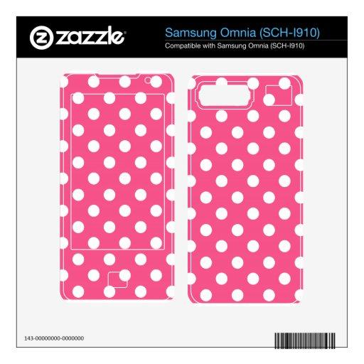 Pink white polka dots samsung omnia skin